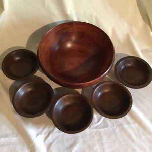 Wooden Bowl Serving Pieces ~ Vintage